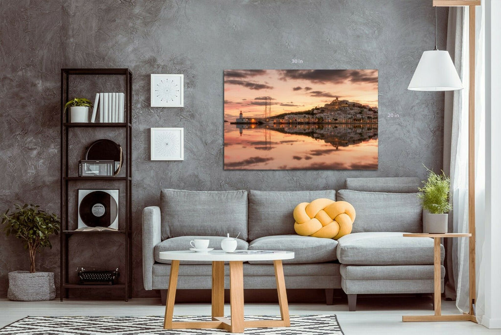 Ibiza harbour at sunset Canvas Wall Art Picture Print