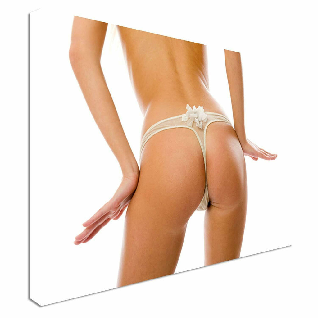 Semi Nude Woman White knickers Canvas Wall Art Picture Print
