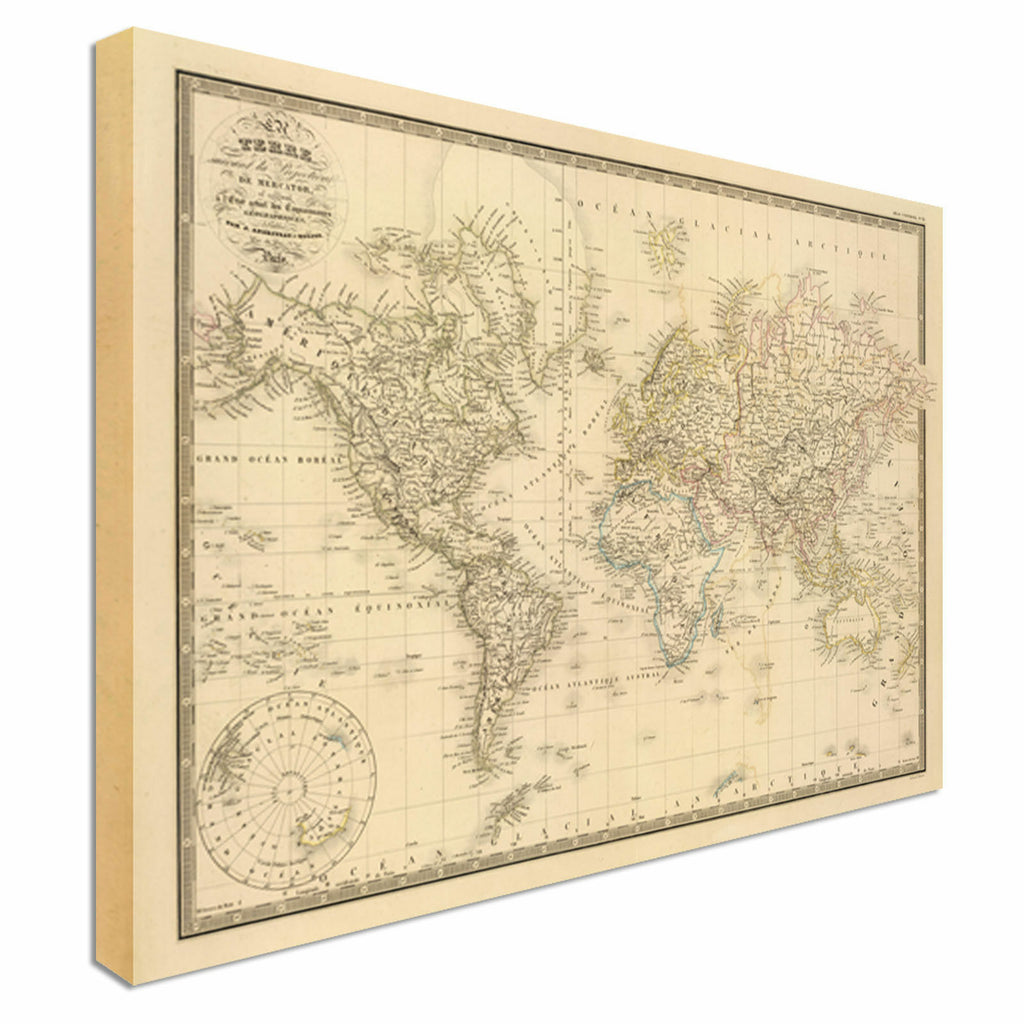 Vintage Old  World Map Style Canvas Wall Art Picture Print