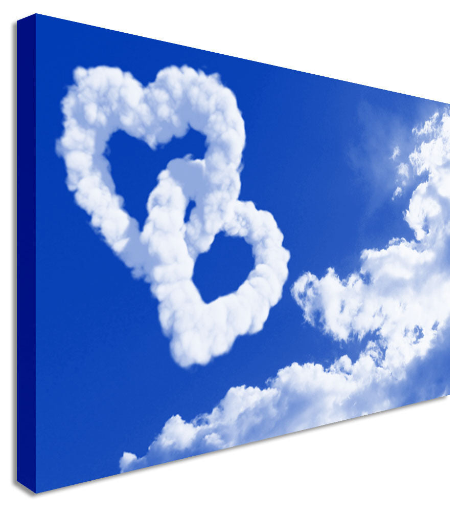 Love Hearts Clouds Blue Sky  Canvas Wall Art Picture Print