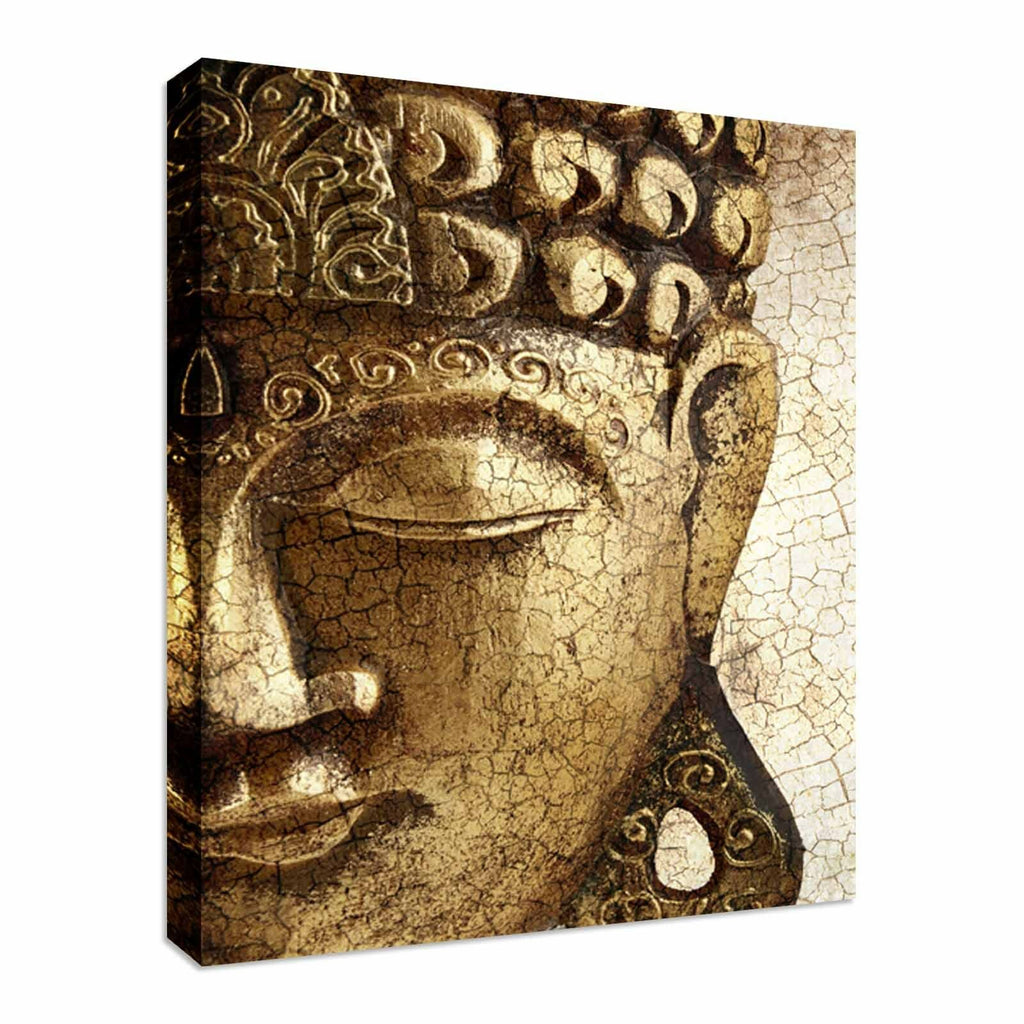 Old Golden Buddha Canvas Wall Art Picture Print