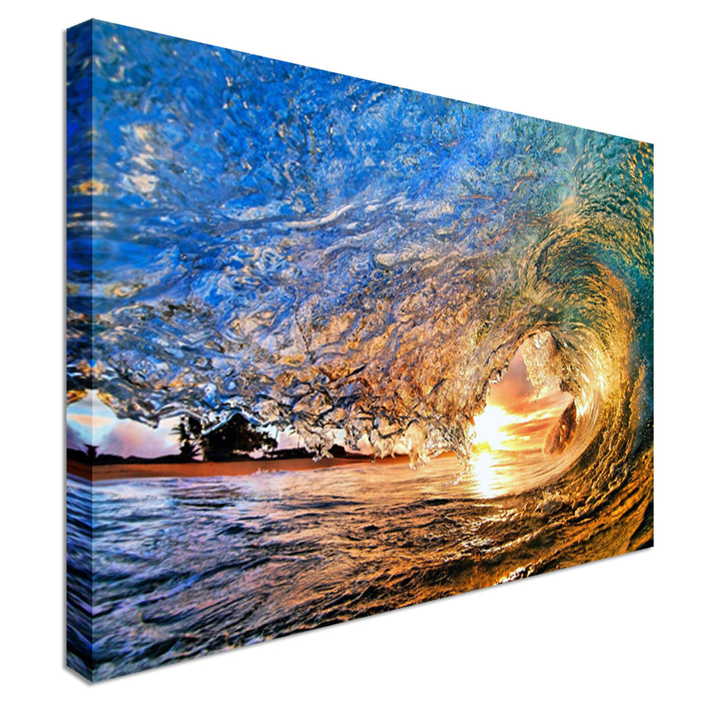 Crashing Waves On Beach Surfing Canvas Wall Art Picture Print