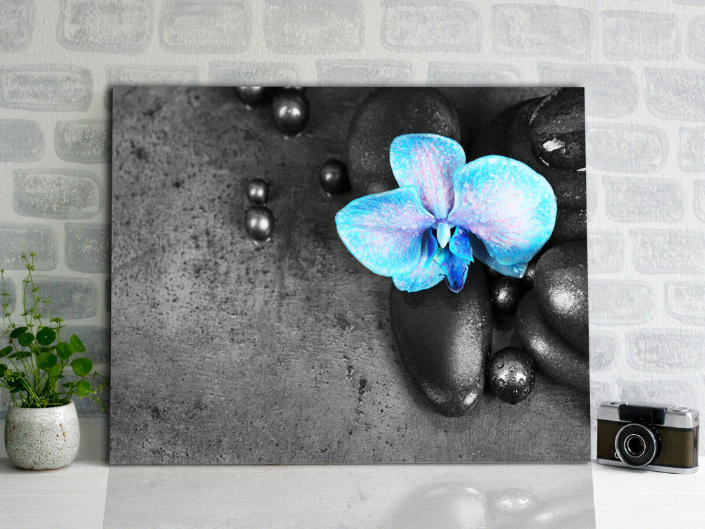 Spa stones with blue Orchid