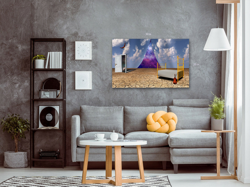 Dali Style Surreal Bed and Wardrobe Canvas Wall Art Picture Print