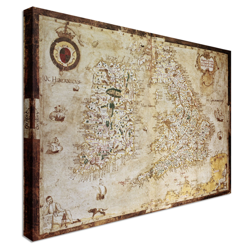 Old Map Of British Islands Canvas Wall Art Picture Print