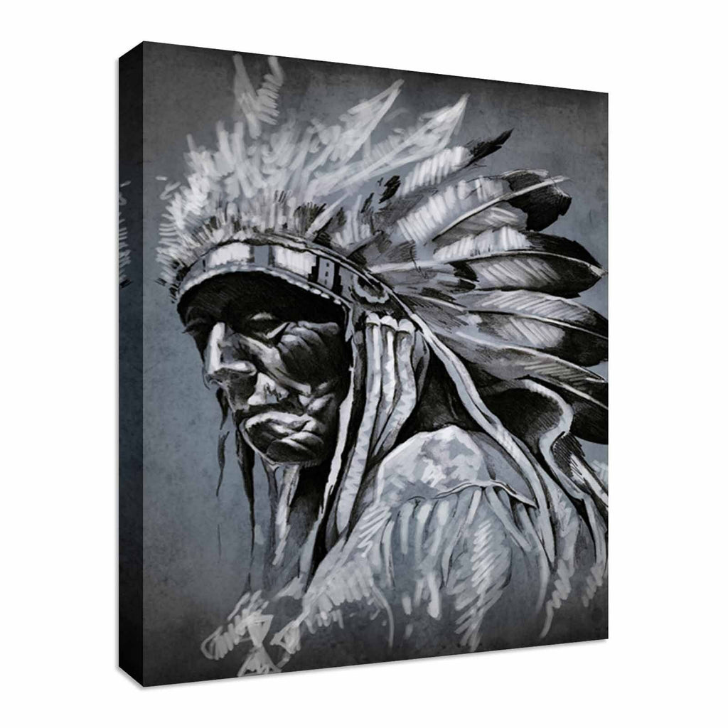 Tattoo art portrait of american indian Canvas Wall Art Picture Print