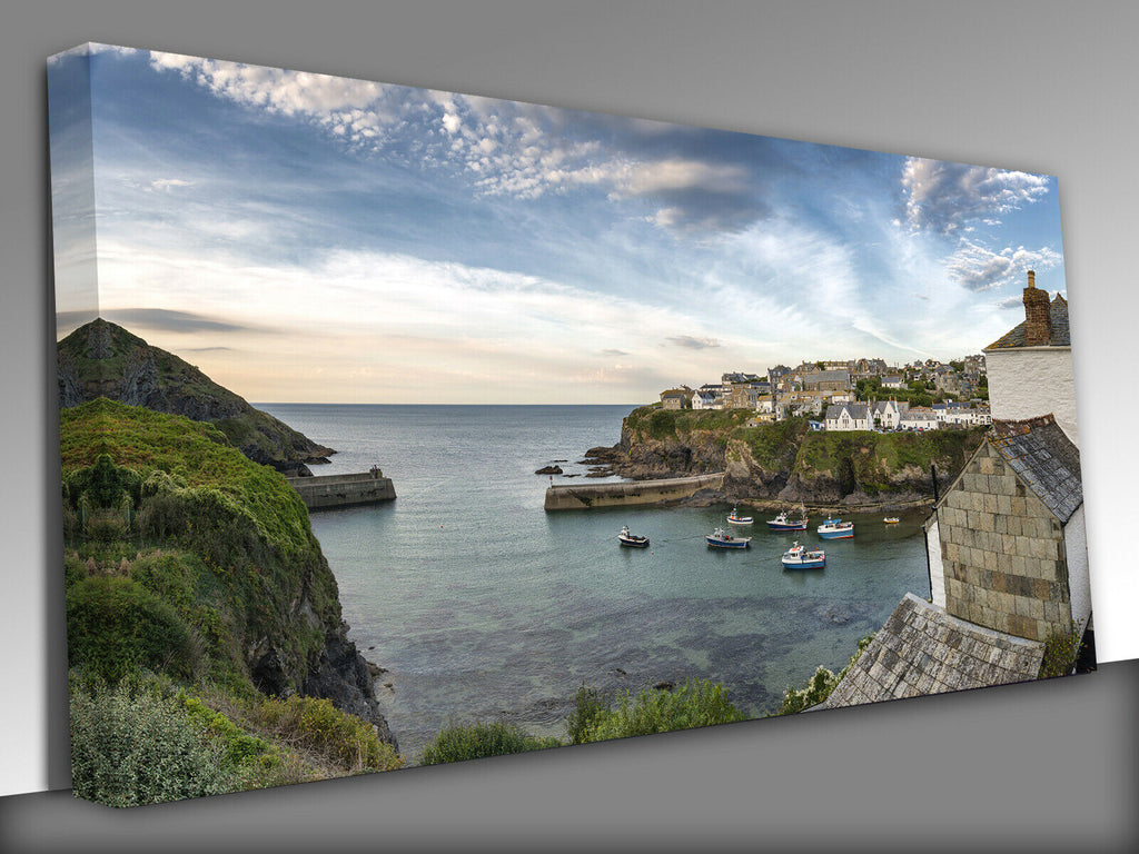 Seagull Port Isaac Cornwall Panoramic Canvas Wall Art Picture Print