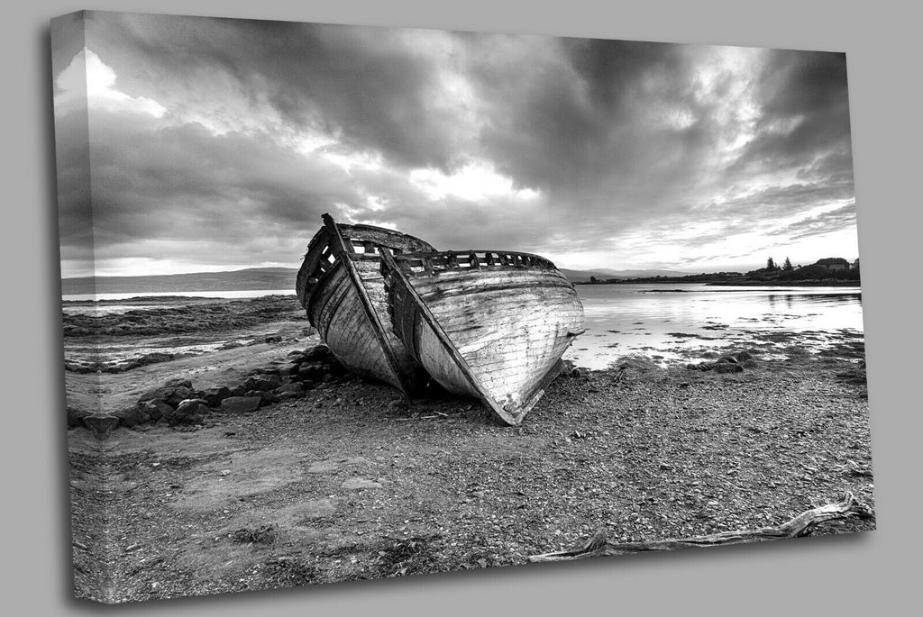 abandoned fishing boat at Salen  the Isle of Mull Canvas Wall Art Picture Print