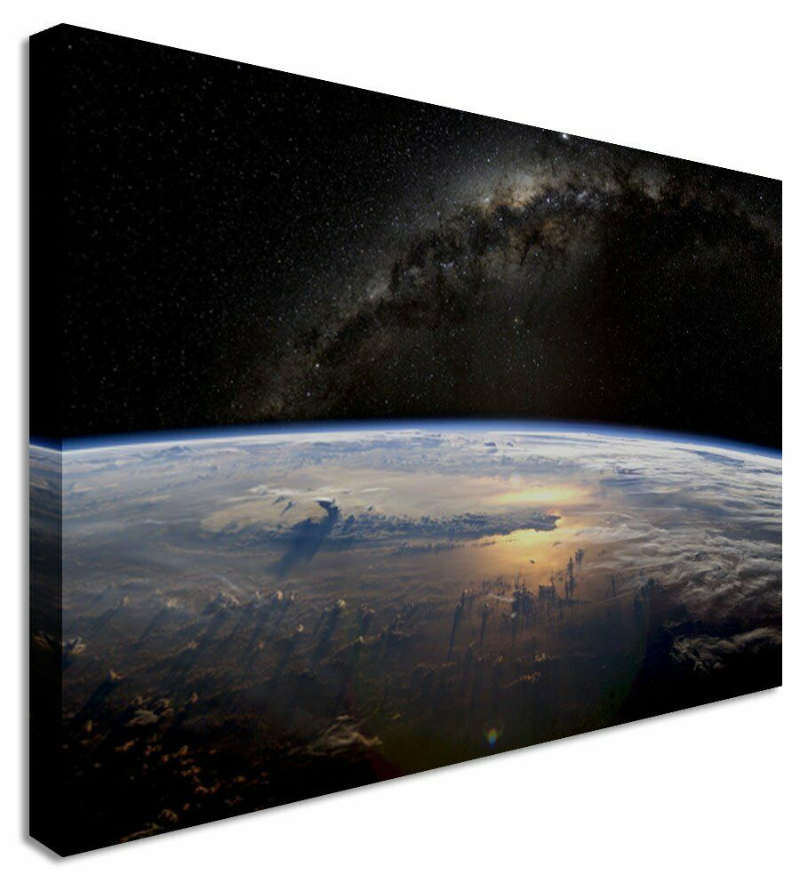 Earth From Space Photo Canvas Wall Art Picture Print