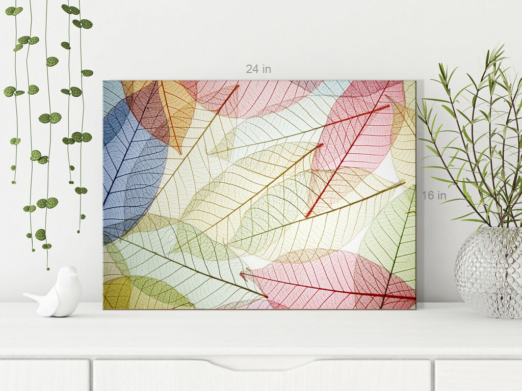 Leaves  floral pastel colours transparent Canvas Wall Art Picture Print