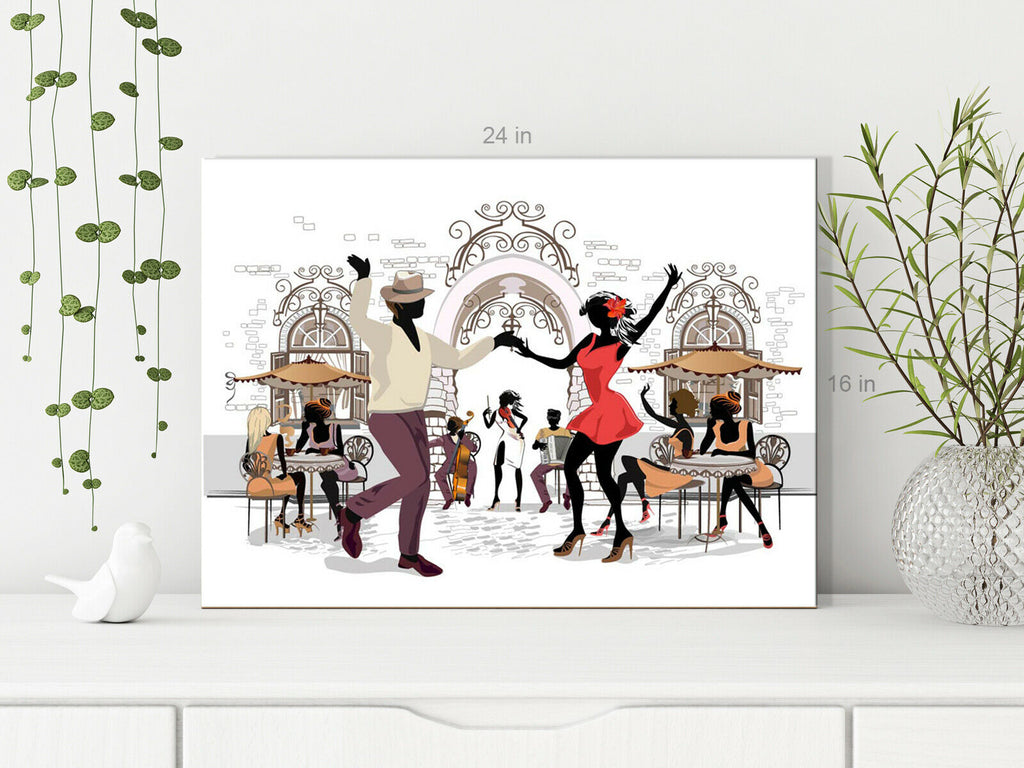Jazz Dancing Street Music Canvas Wall Art Picture Print