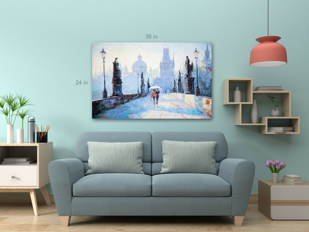 Lovers On Bridge Canvas Wall Art Picture Print