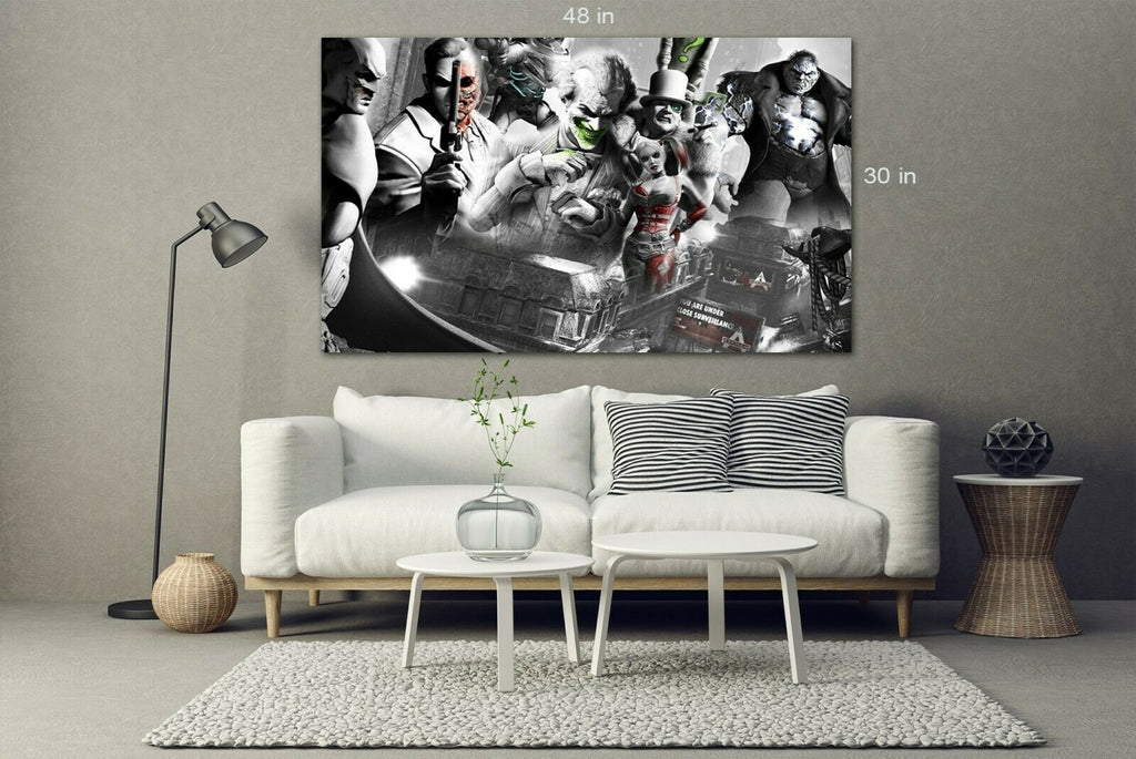 Batman, Joker, H Quinn, Arkham City Canvas Wall Art Picture Print