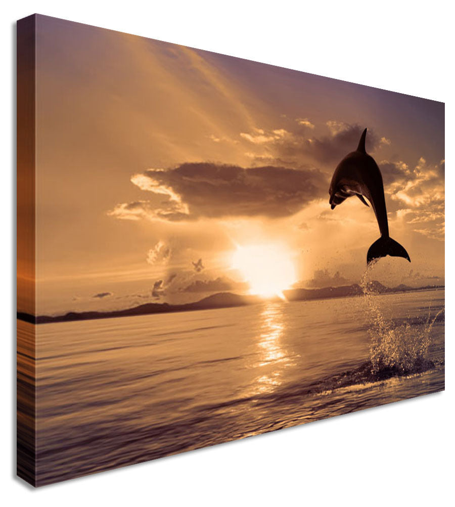 Jumping Dolphin Sunset Seascape Canvas Wall Art Picture Print