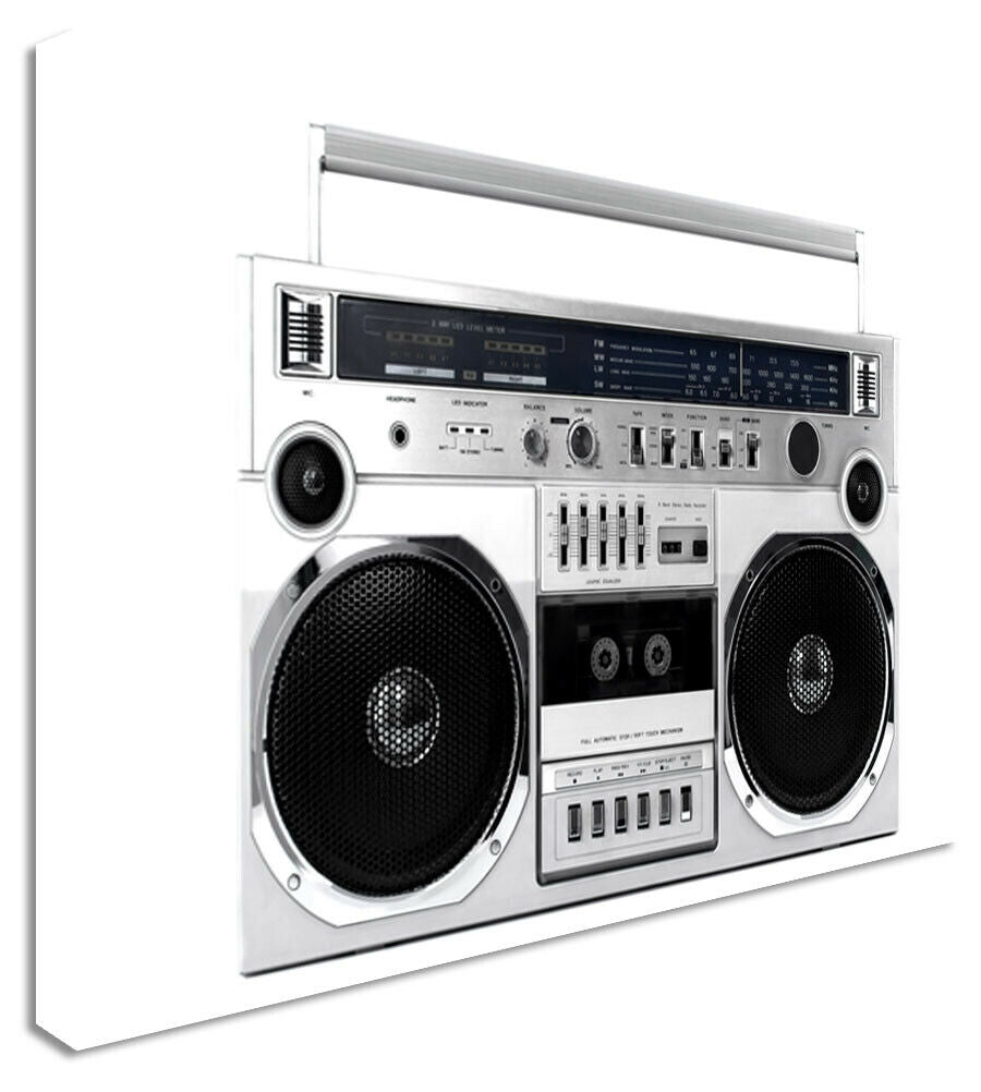 BoomBox Tape Player 80's Retro Canvas Wall Art Picture Print