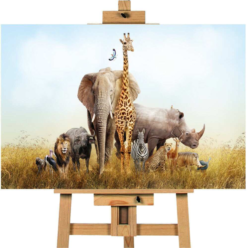Safari Animals Canvas Wall Art Picture Print