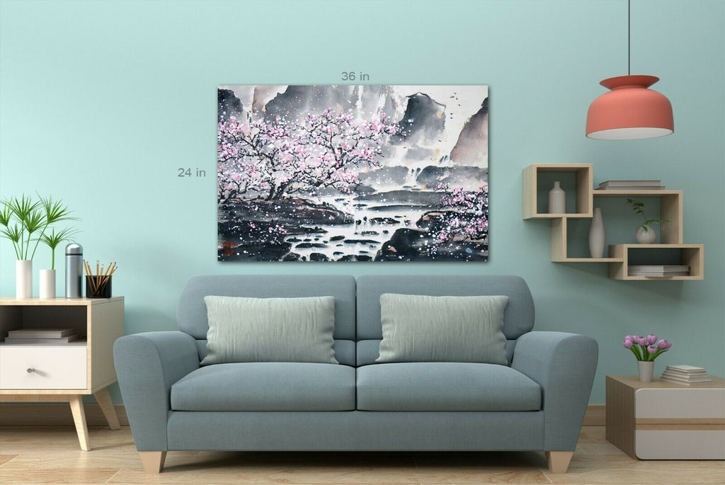 Abstract Japanese Painting Cherry Blossom Canvas Wall Art Picture Print
