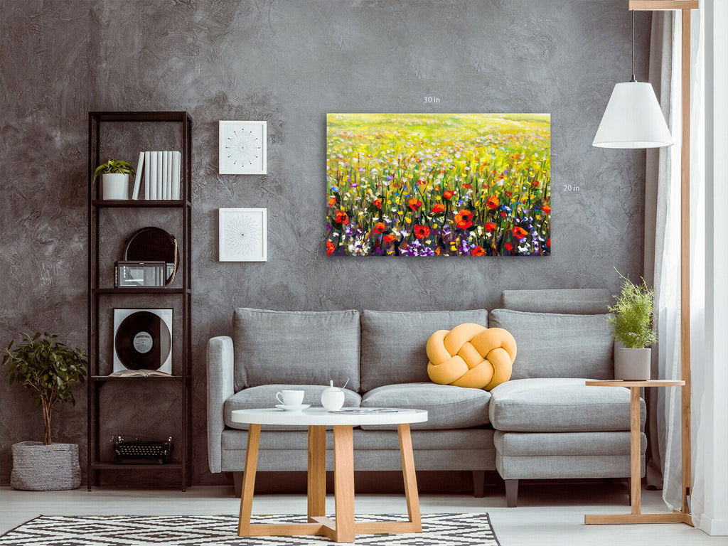 Wild Flowers Colour Canvas Wall Art Picture Print