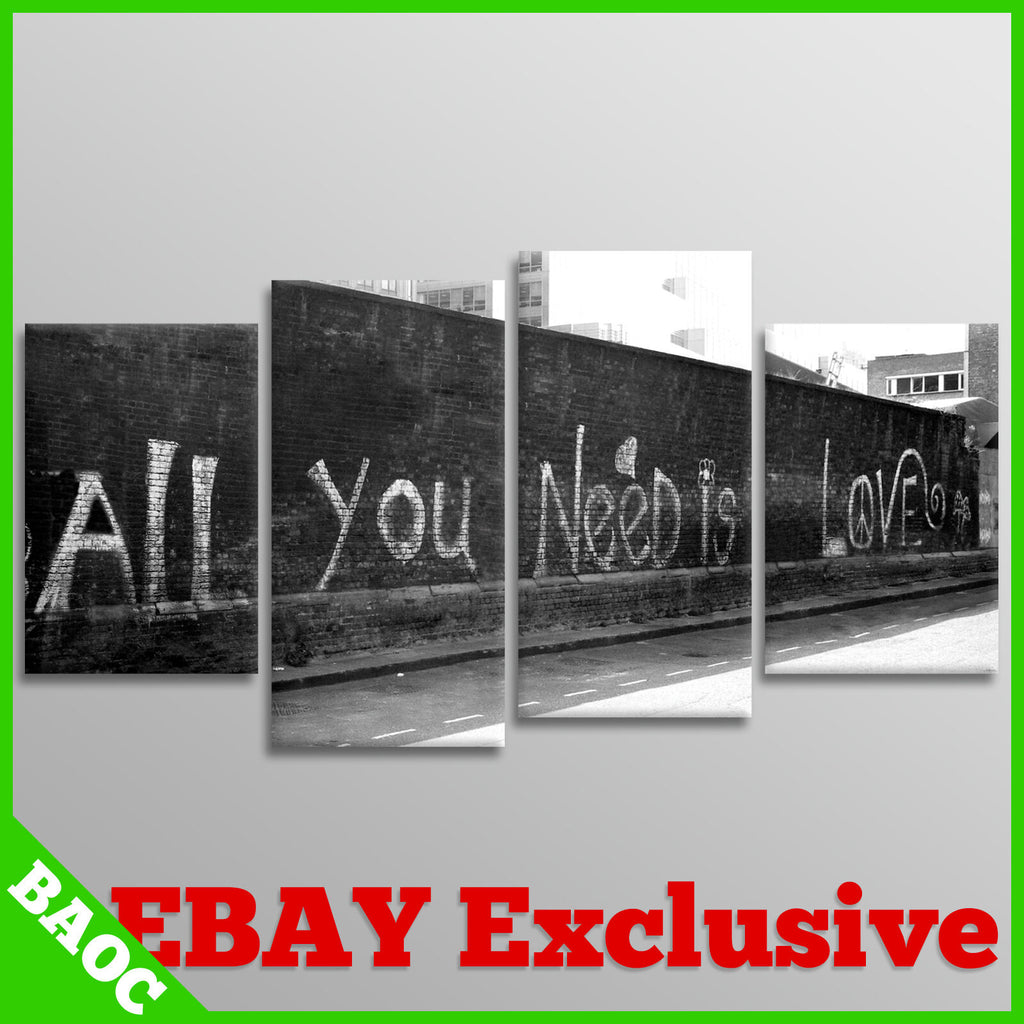 BANKSY Wall Art | All You Need Is Love | 4 Panel Canvas Wall Art Picture Print