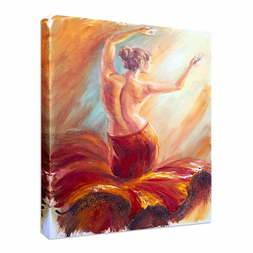 Painting Woman in Fiery Dress Canvas Wall Art Picture Print