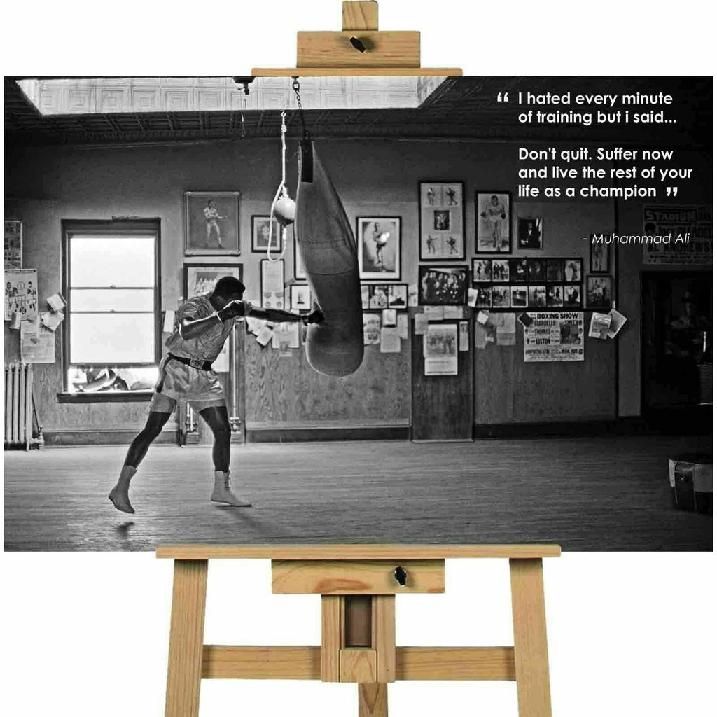 Muhammad Ali Quotation Life as a Champion Canvas Print Wall Art