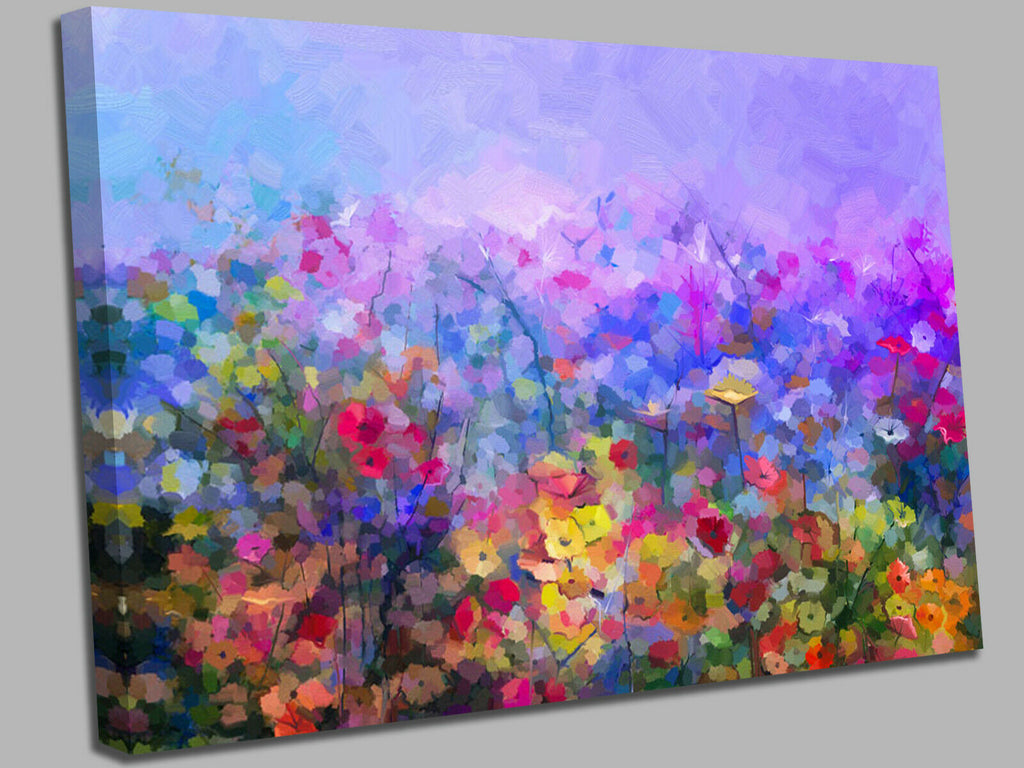 Abstract colorful oil painting purple cosmos flower  Canvas Wall Art Picture