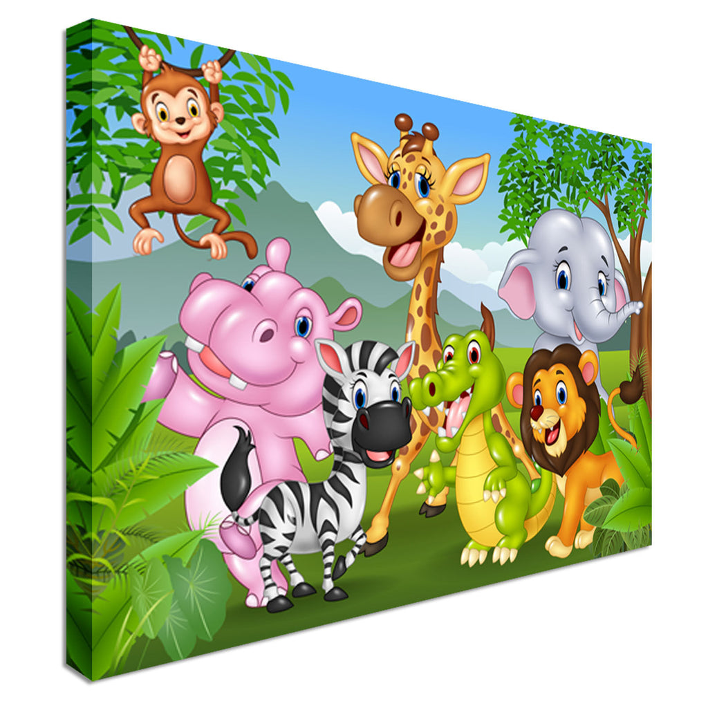 Kids Jungle Canvas Wall Art Picture Print
