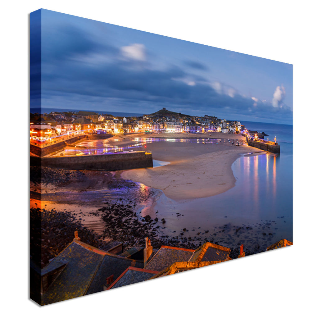 Dusk overlooking St Ives Harbour Cornwall  Canvas Wall Art Picture Print