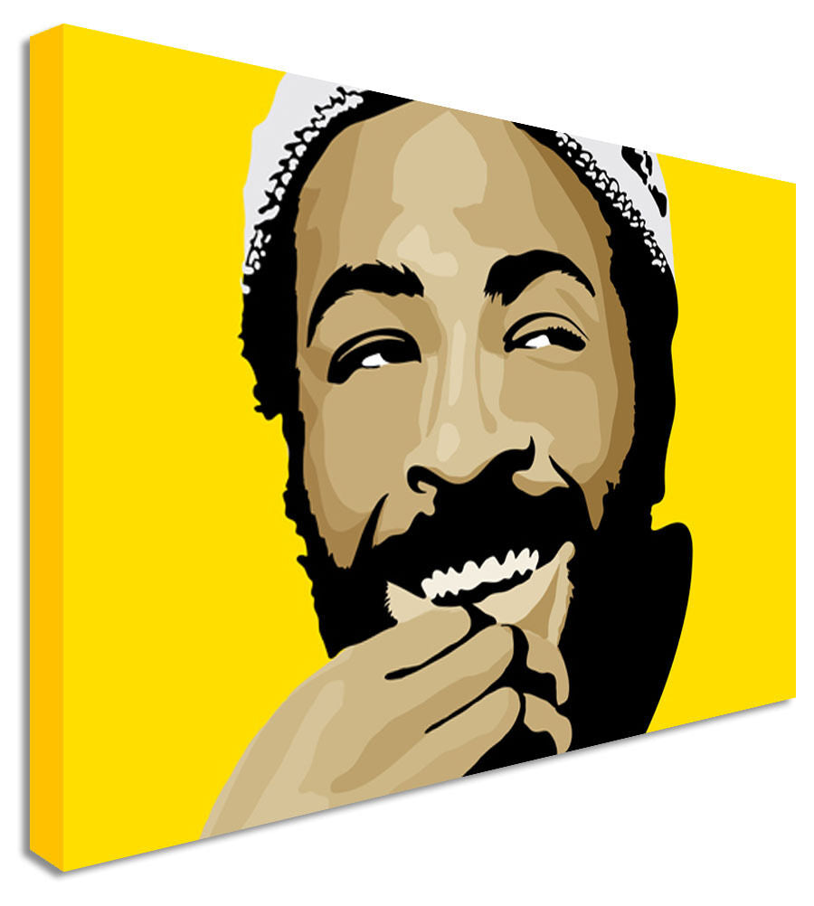Marvin Gaye Smile Yellow Canvas Wall Art Picture Print