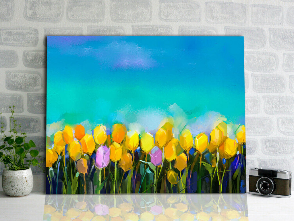 Blooming tulips painting Canvas Wall Art Picture Print