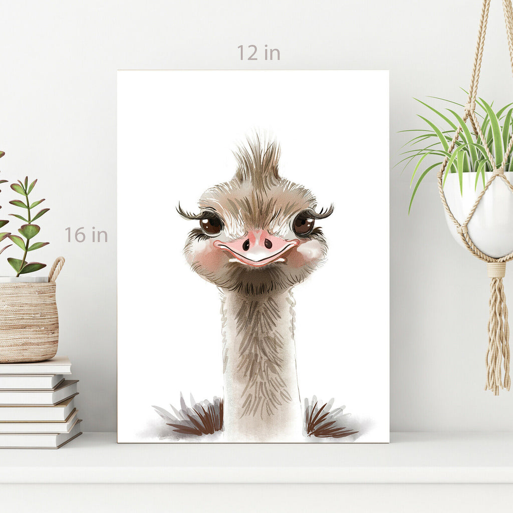 Kids Room Baby Ostrich happy Canvas Wall Art Picture Print