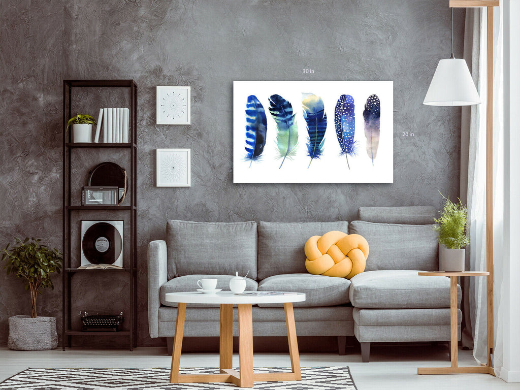 Feathers Blue Tones Canvas Wall Art Picture Print