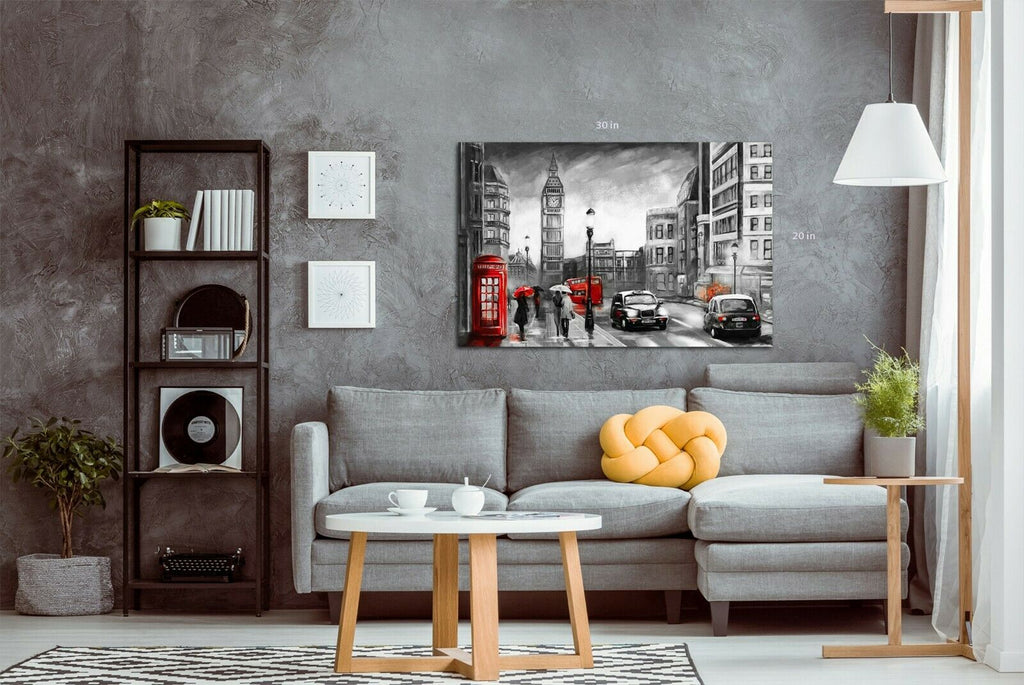 London Rain black, white, red  Canvas Wall Art Picture Print