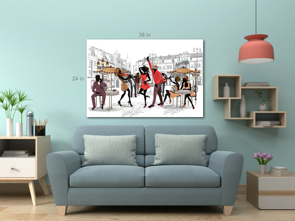 Jazz Band Dancing Canvas Wall Art Picture Print