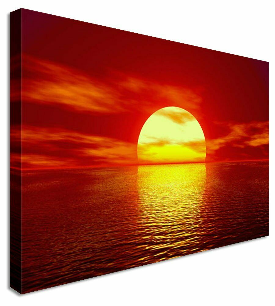 Burnt Sky Sunset Seascape Canvas Wall Art Picture Print