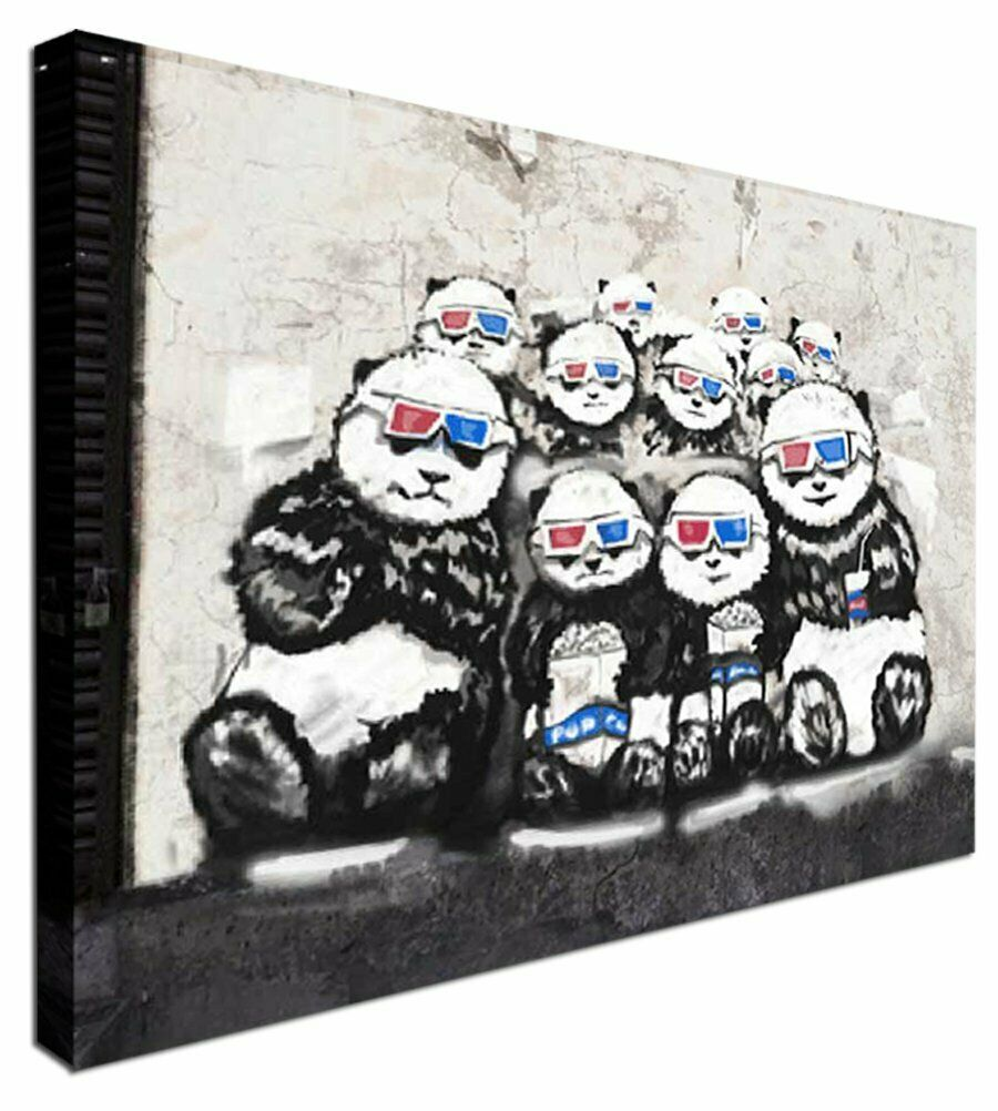 3D Panda BANKSY Modern Canvas Wall Art Picture Print