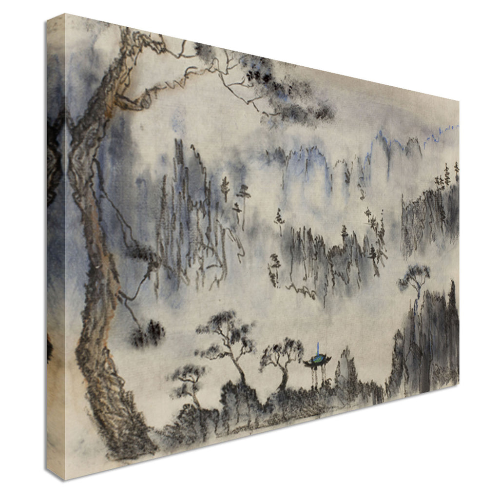 Chinese painting mountains and pine Canvas Wall Art Picture Print