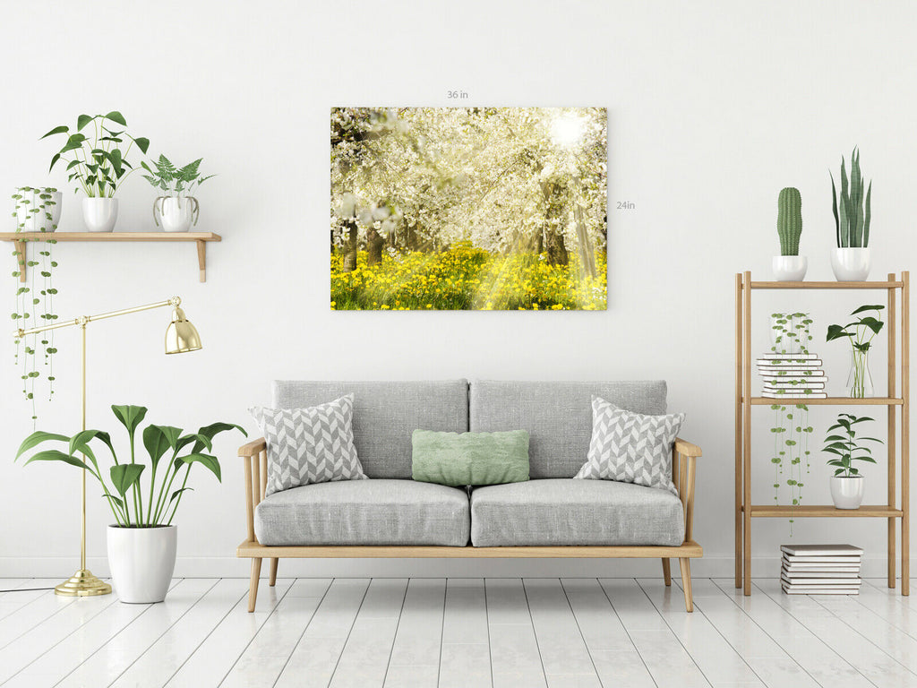 Forest Trees Yellow Canvas Wall Art Picture Print
