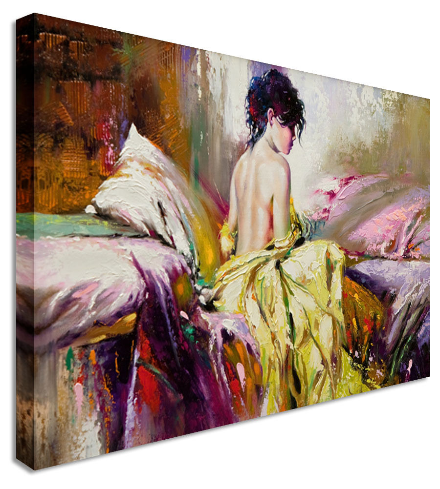 Fairy Painting Nude Bed  Canvas Wall Art Picture Print