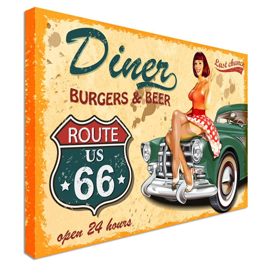 Vintage Diner Ad Route 66 Canvas Wall Art Picture Print