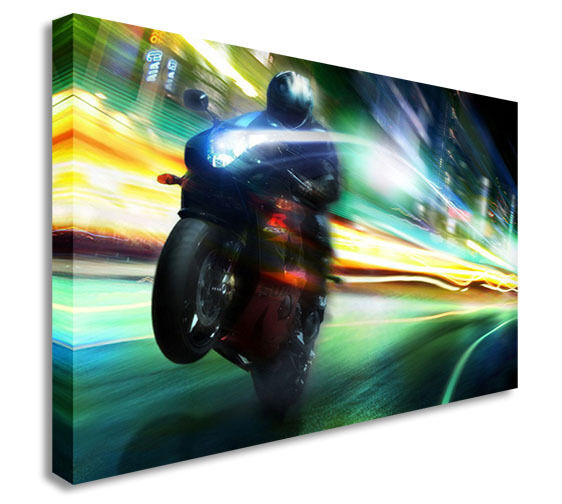 MOTORBIKE SPEED FUNKY CANVAS PRINT POP ART Canvas Wall Art Picture Print