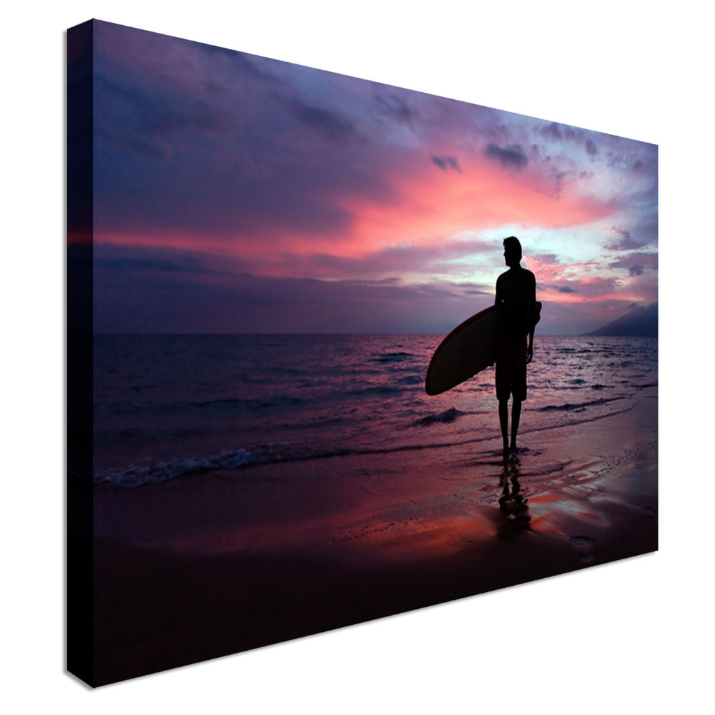 Surfboarder at sunset on tropical beach Canvas Wall Art Picture Print