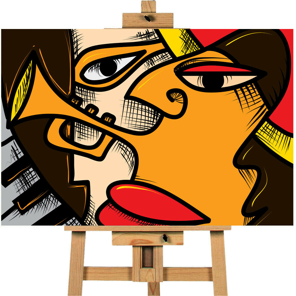 Abstract Jazz Canvas Wall Art Picture Print