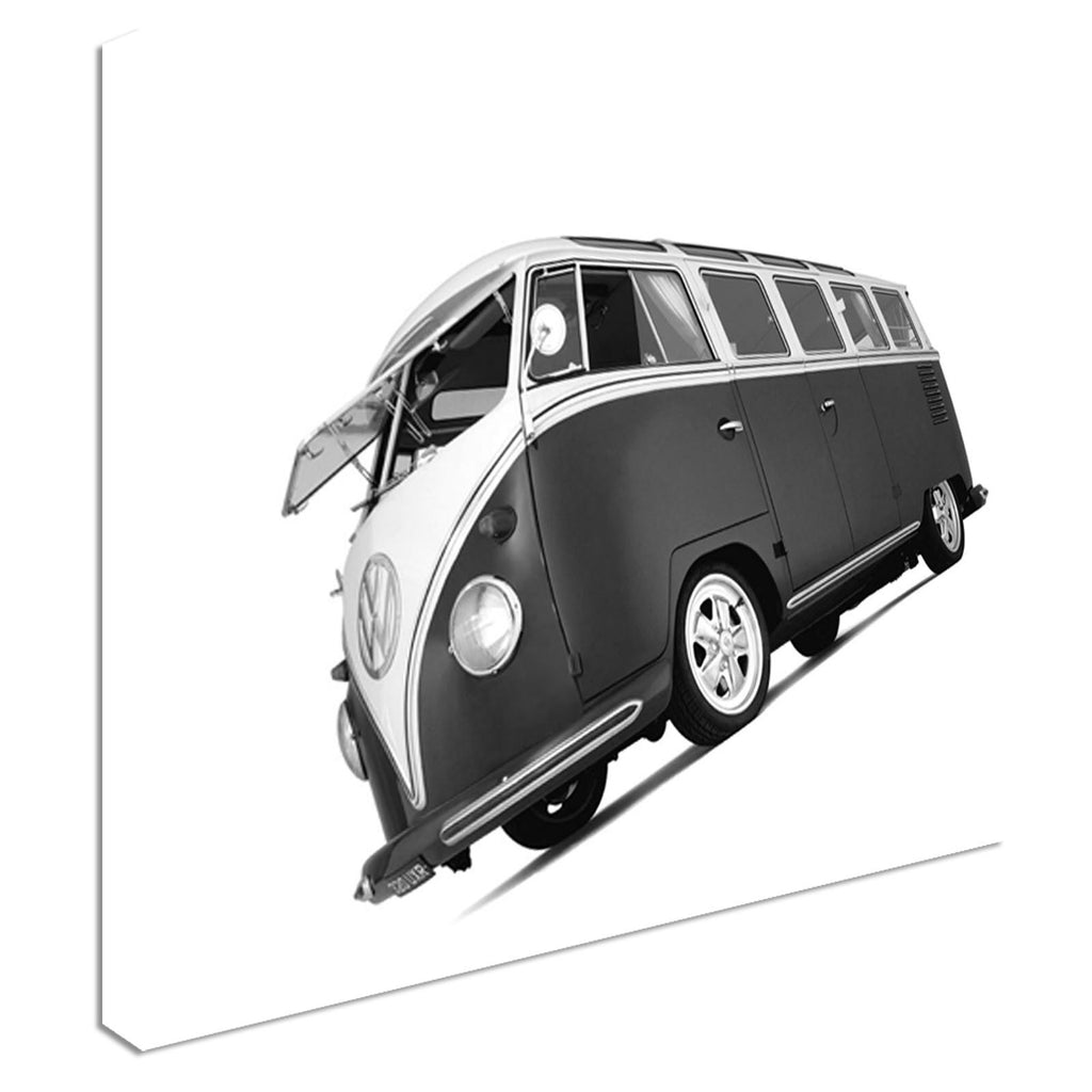 VW Camper Van Black And White Canvas Wall Art Picture Print