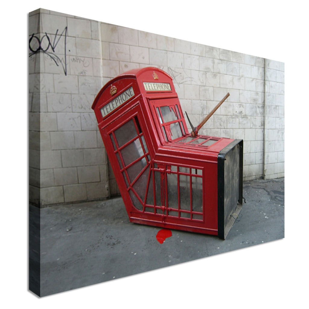 Phone Box Banksy  Canvas Wall Art Picture Print