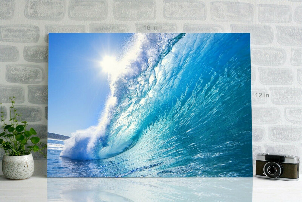 Blue Ocean Wave Canvas Wall Art Picture Print