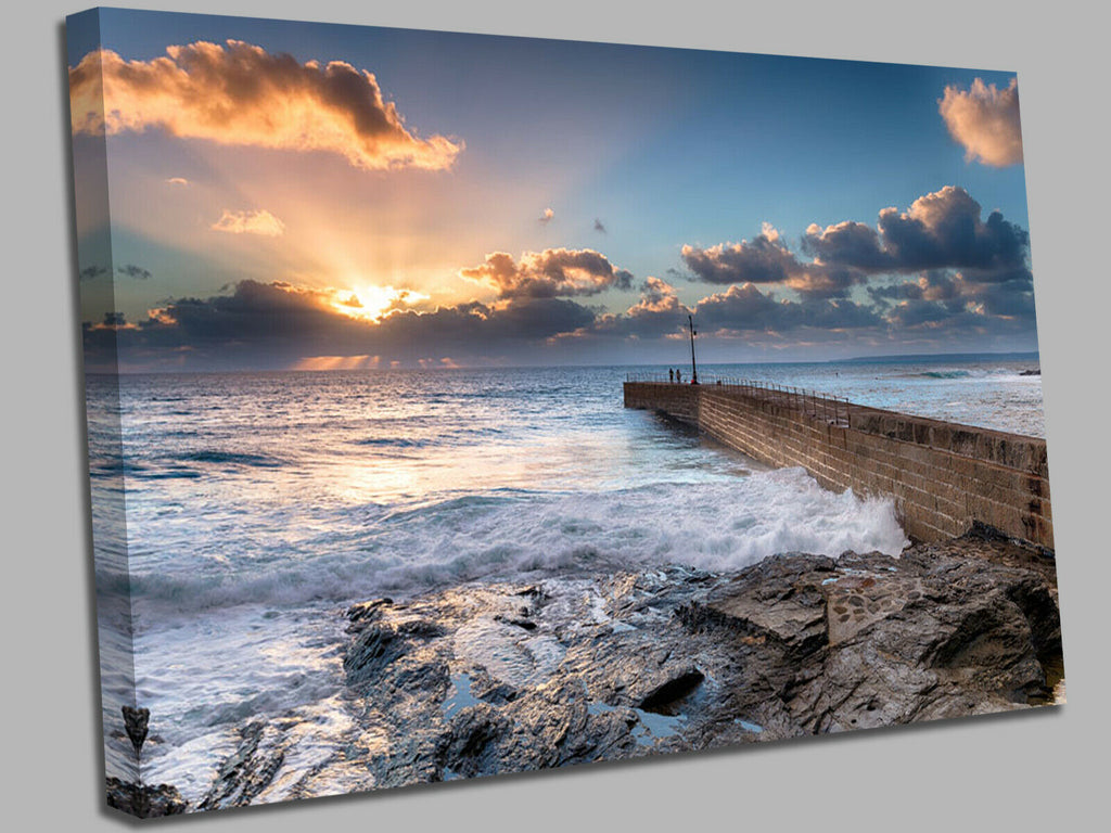Porthleven on the Cornwall coast susnet  Canvas Wall Art Picture Print