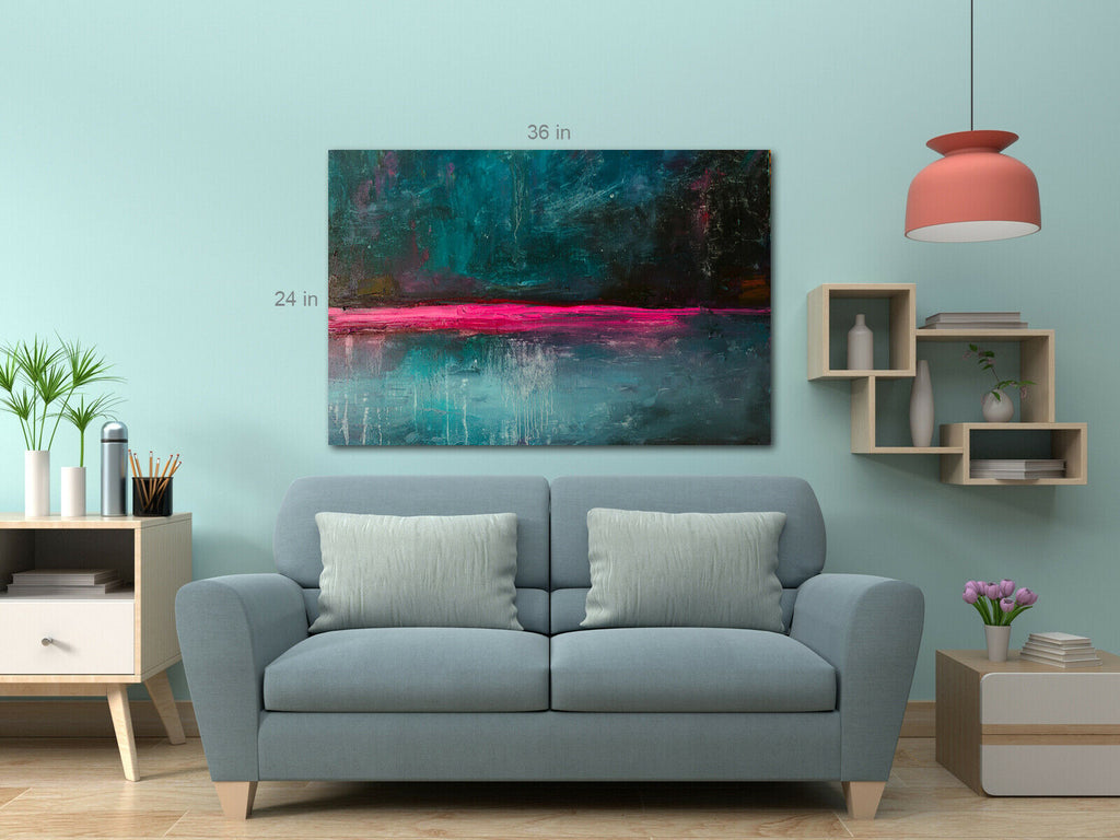Modern Blue Splash Abstract With Colour Canvas Wall Art Picture Print