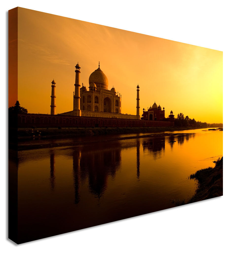 Taj Mahal Calm Lake Indian  Canvas Wall Art Picture Print