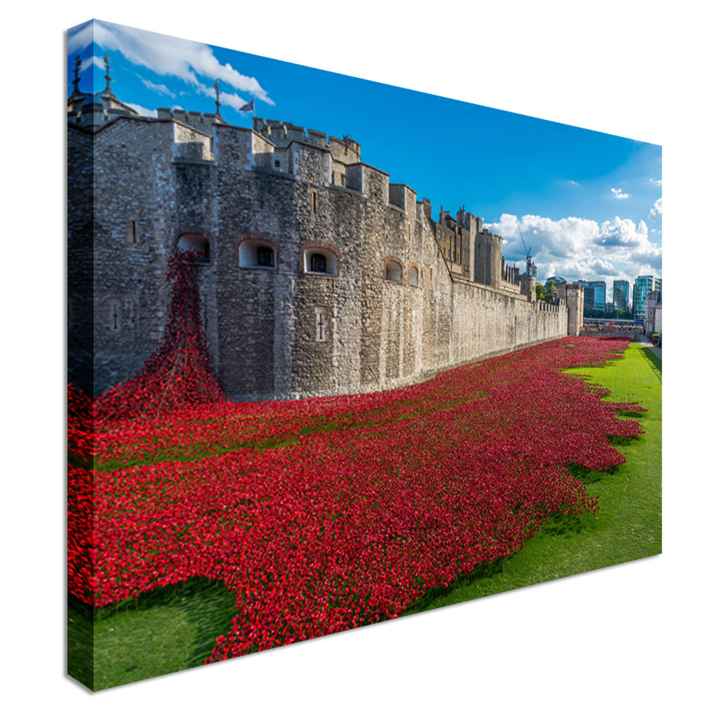 Red Poppies Tower Of London Canvas Wall Art Picture Print